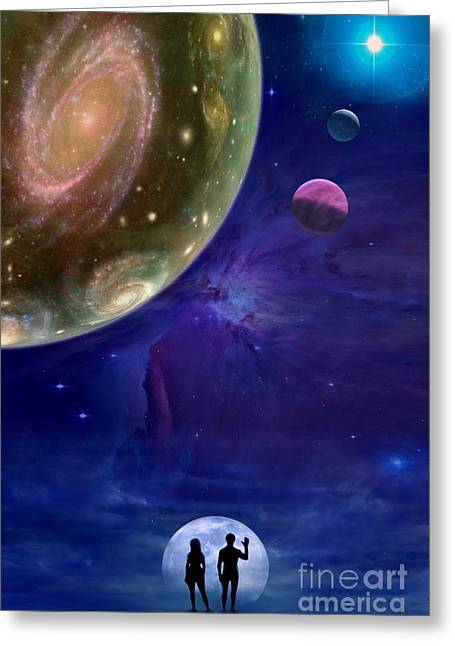Interstellar Space Mixed Media Greeting Cards - Universes Greeting Card by Pal Virag