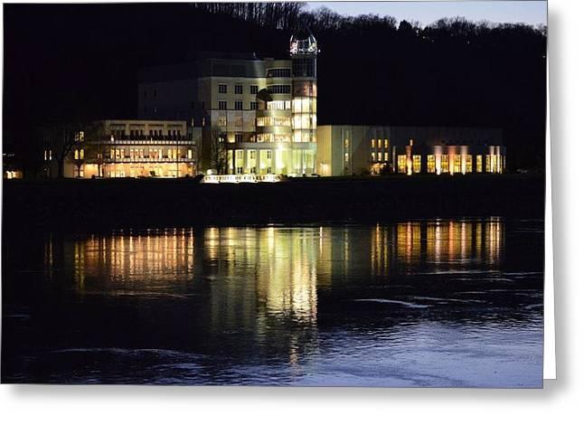 Buildings Reflecting In Water Greeting Cards - University of Charleston Greeting Card by Marti Welker-Jones