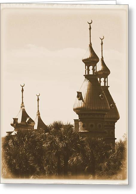 Tampa Buildings Greeting Cards - University of Tampa Minarets with Old Postcard Framing Greeting Card by Carol Groenen