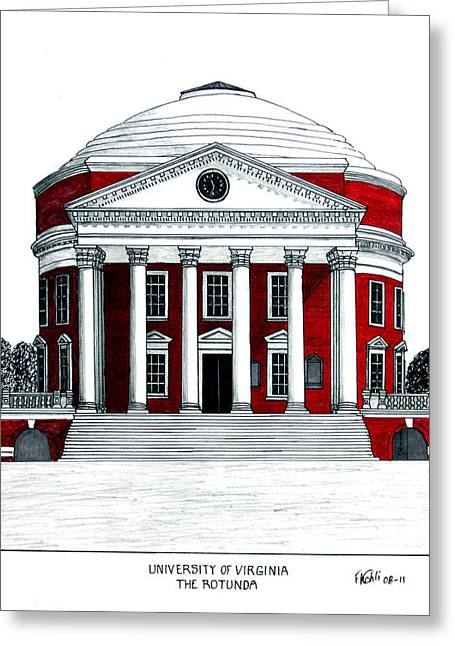 Pen And Ink Framed Prints Mixed Media Greeting Cards - University of Virginia Greeting Card by Frederic Kohli