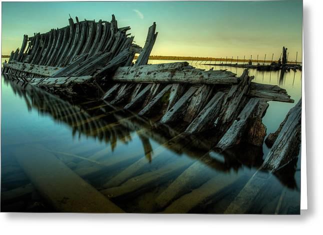 Sturgeon Bay Greeting Cards - Unknown Shipwreck Greeting Card by Jakub Sisak