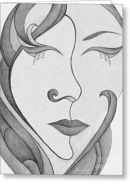 Inner Self Greeting Cards - Unnamed Sketch 01 Greeting Card by Joanna Pregon