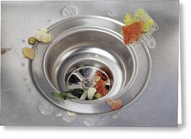 Drain Greeting Cards - Unprotected Plughole Greeting Card by Carlos Dominguez