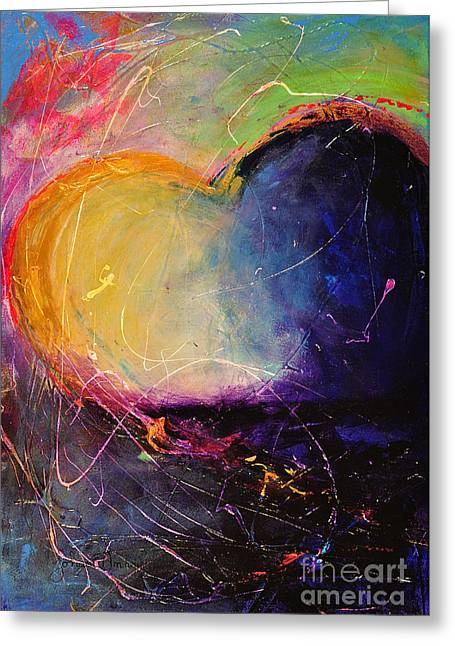 Blue And Purple Abstract Greeting Cards - Unrestricted Heart Sunset Colors Greeting Card by Johane Amirault