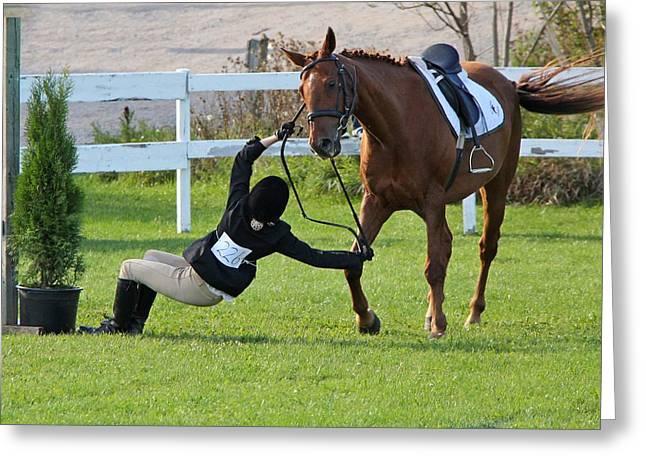 Showjumping Greeting Cards - Unseated Greeting Card by Davandra Cribbie