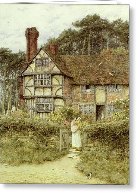 Half-timbered Greeting Cards - Unstead Farm Godalming Greeting Card by Helen Allingham