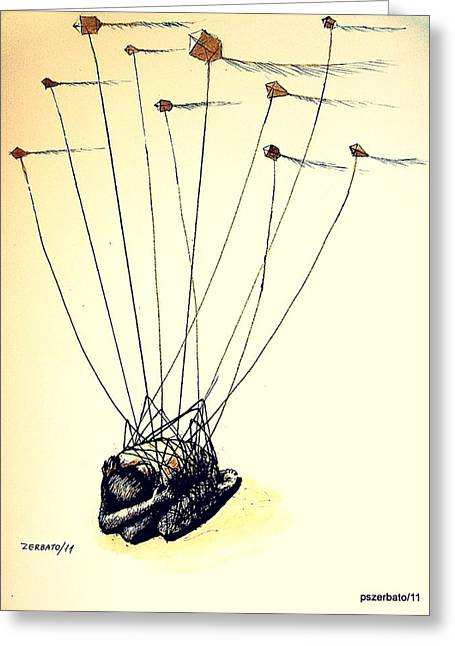 Kites Mixed Media Greeting Cards - Unsuccessful Attempt To Raise High Flights Greeting Card by Paulo Zerbato