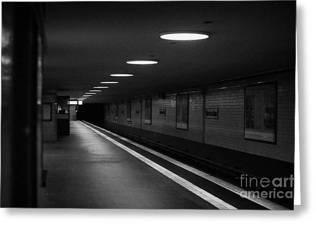 U-bahn Photographs Greeting Cards - Unter Der Linden ghost station u-bahn station Berlin Germany Greeting Card by Joe Fox