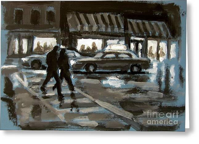 Crosswalk Greeting Cards - Rainy Nights Downtown Greeting Card by John Malone