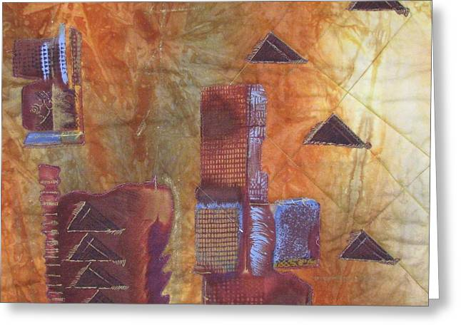Orange Tapestries - Textiles Greeting Cards - Untitled Abstract Greeting Card by Judy Sauer