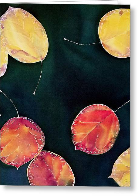 Yellow Leaves Tapestries - Textiles Greeting Cards - Untitled Greeting Card by Carolyn Doe