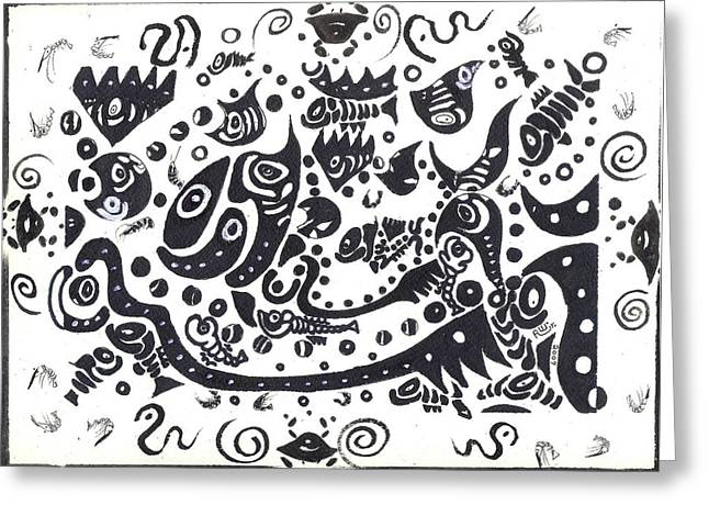 Urban Images Drawings Greeting Cards - Untitled Fish Piece Greeting Card by Robert Wolverton Jr