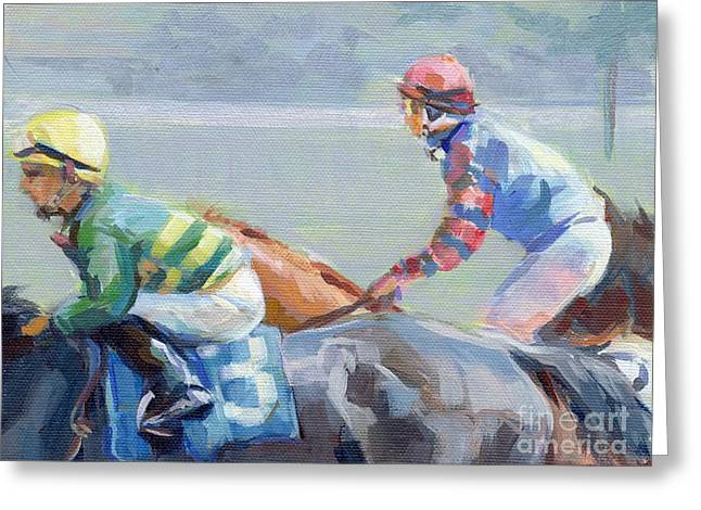 Horse Racing Paintings Greeting Cards - Untitled Saratoga Greeting Card by Kimberly Santini