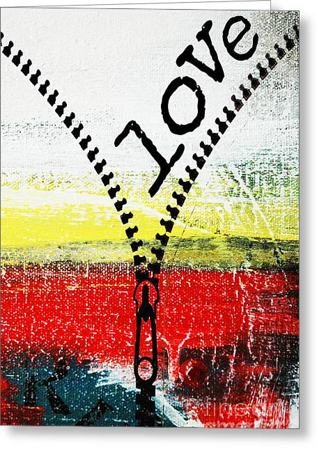 Teen Licensing Greeting Cards - Unzipping Love Abstract Greeting Card by Anahi DeCanio