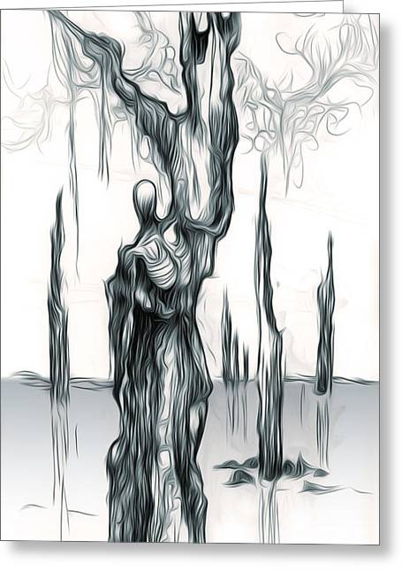 Up A Tree Up A Creek Greeting Card by Gregory Dyer
