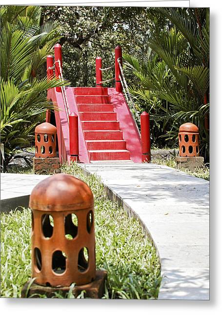 Up Garden Path Over Red Bridge Greeting Card by Kantilal Patel