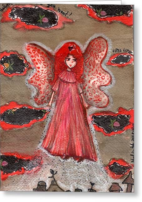 Night Angel Drawings Greeting Cards - Up in the Sky Greeting Card by Sibel Kantola