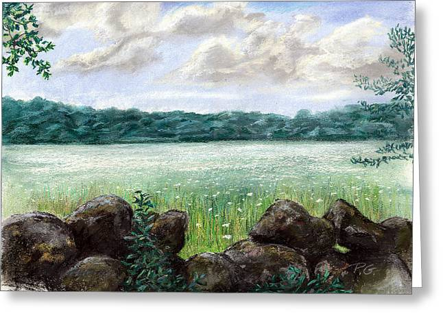 Vineyard Landscape Pastels Greeting Cards - Up Island Meadow Greeting Card by Paul Gardner