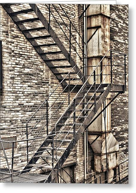 Alley Stairs Greeting Cards - Up or Down Greeting Card by Jason Wolters