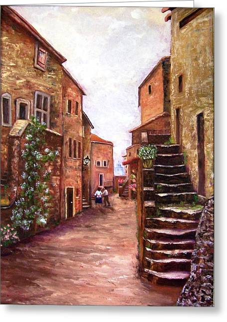 Worn In Paintings Greeting Cards - Up the Alley Greeting Card by Renate Voigt