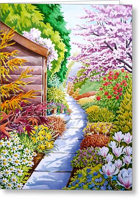 Shed Drawings Greeting Cards - Up the Garden Path Greeting Card by Debbie  Diamond