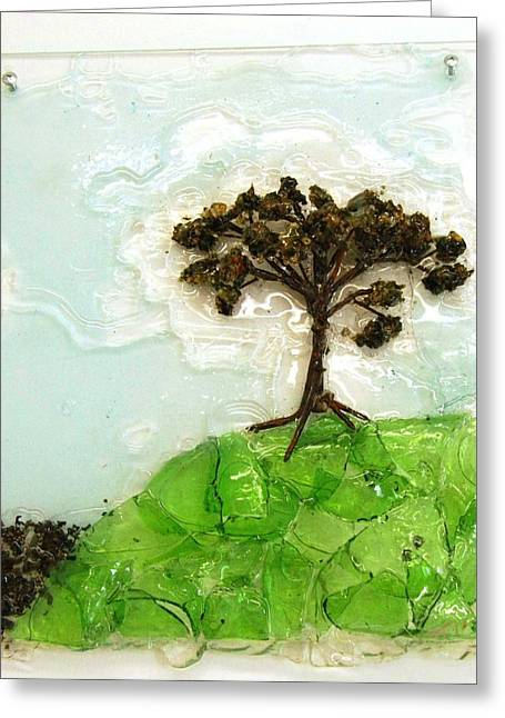 Green Leafs Reliefs Greeting Cards - Up the Hill Greeting Card by Mariann Taubensee