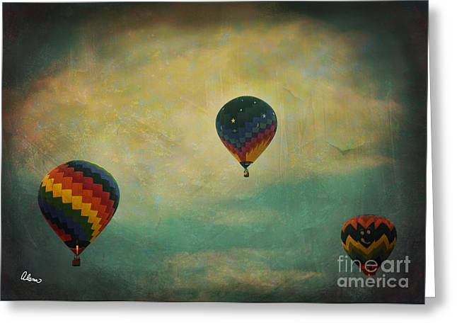 Bule Greeting Cards - Up Up and away Greeting Card by Alana Ranney