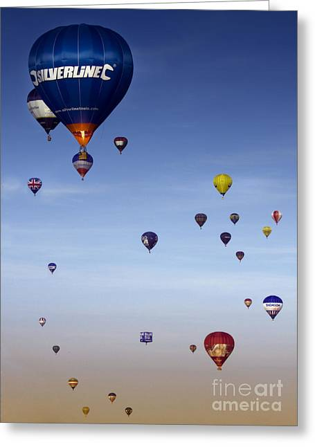 Balloon Fiesta Greeting Cards - Up Up And Away  Greeting Card by Angel  Tarantella