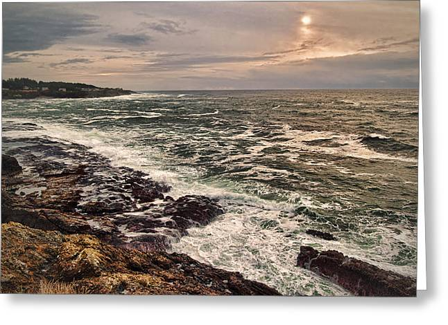 Stormy Night Greeting Cards - Upon Rocky Shores Greeting Card by James Heckt