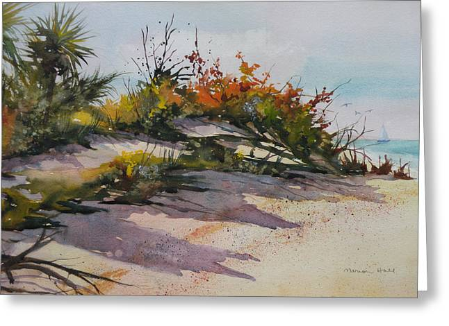 Sand Dunes Paintings Greeting Cards - Upper Captiva Beach Greeting Card by Marion Hall