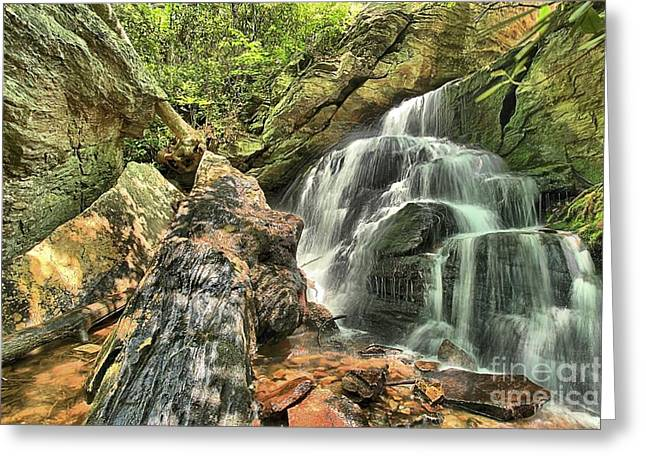 Ledge Photographs Greeting Cards - Upper Cascade Hidden Falls Greeting Card by Adam Jewell