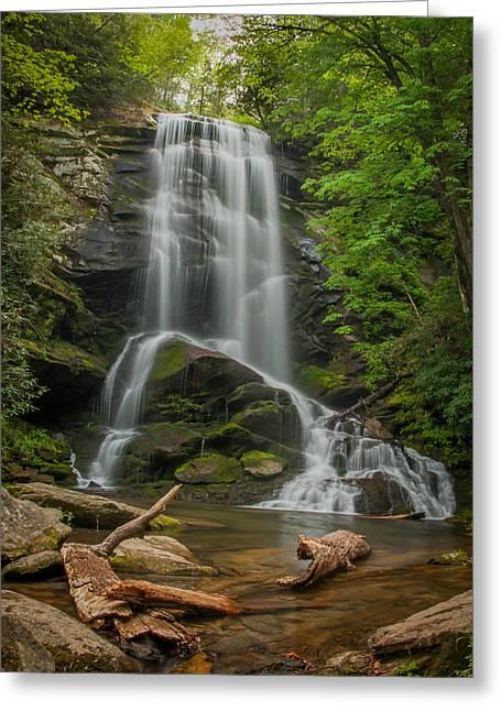 Fall Trees With Stream. Greeting Cards - Upper Catawba Greeting Card by Joye Ardyn Durham