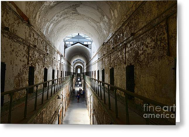 Eastern State Greeting Cards - Upper Cell Blocks Greeting Card by Paul Ward