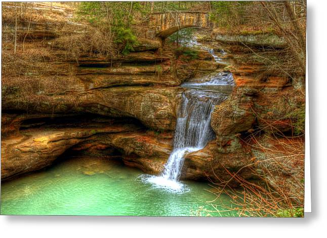 Streams Pyrography Greeting Cards - Upper Falls from the Top Greeting Card by Shirley Tinkham