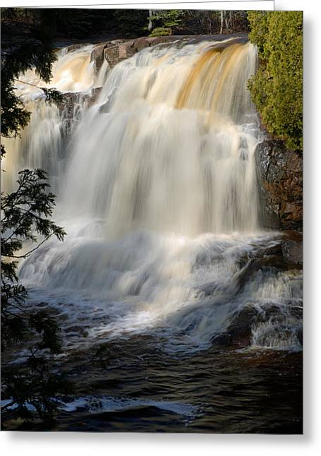 Wrapped Canvas Greeting Cards - Upper Falls Gooseberry River 2 Greeting Card by Larry Ricker