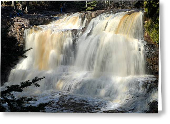 Wrapped Canvas Greeting Cards - Upper Falls Gooseberry River Greeting Card by Larry Ricker