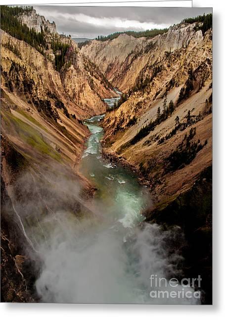 Upper Yellowstone Falls Greeting Card by Robert Bales