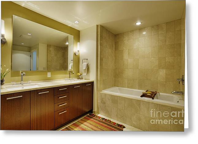 Upscale Bathroom Interior Greeting Card by Andersen Ross