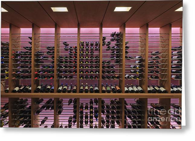 Wine Rack Greeting Cards - Upscale Wine Rack Greeting Card by Jeremy Woodhouse