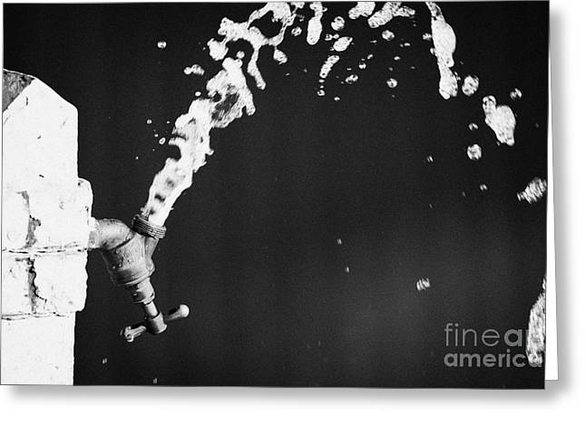 Plumb Greeting Cards - Upside Down Faucet Spraying Water Greeting Card by Joe Fox