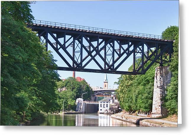 Upside-down Railroad Bridge Greeting Card by Guy Whiteley