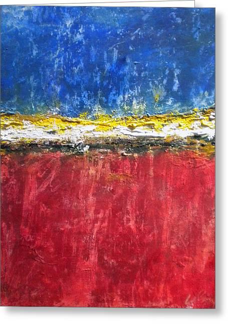 Merging Paintings Greeting Cards - Upside Sunset Greeting Card by Matt LeRay