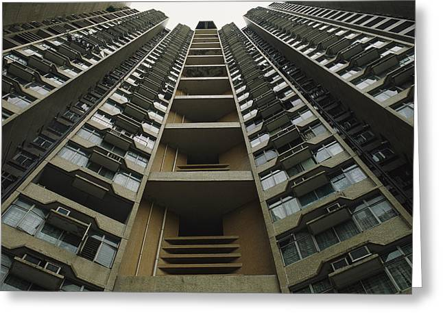 Window Of Life Greeting Cards - Upward View Of A Public Housing Greeting Card by Justin Guariglia