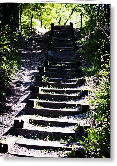Wooden Stairs Greeting Cards - Upwards Greeting Card by Laurianna Murray