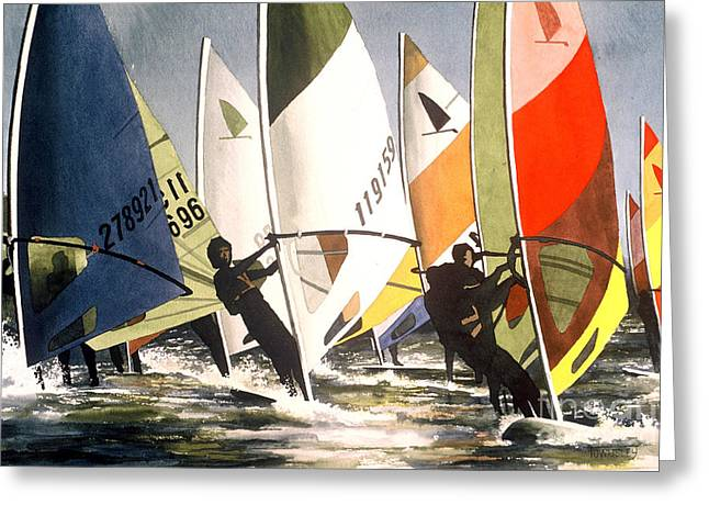 Sailboarding Greeting Cards - Upwind leg Greeting Card by Frank Townsley