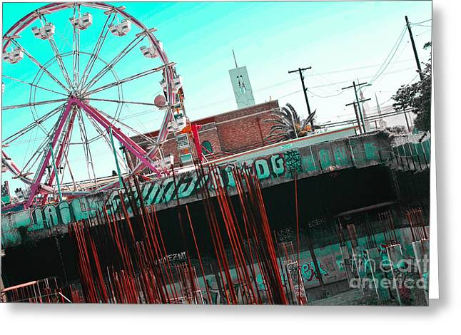 Urban Ferris Wheel With Tinted Sky Greeting Card by Christy Borgman