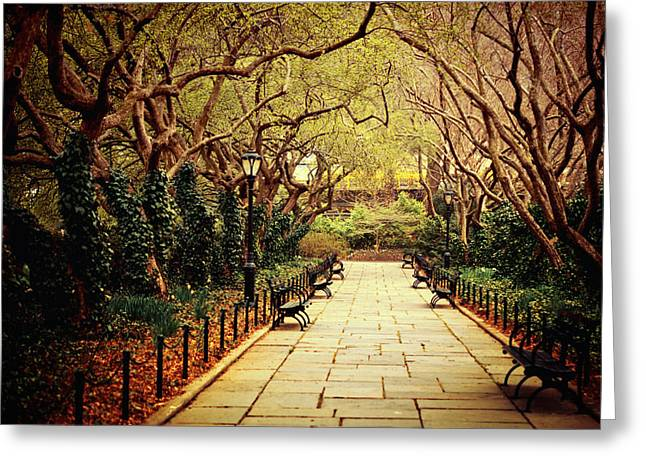Mystical Landscape Greeting Cards - Urban Forest Primeval - Central Park Conservatory Garden in the Spring Greeting Card by Vivienne Gucwa