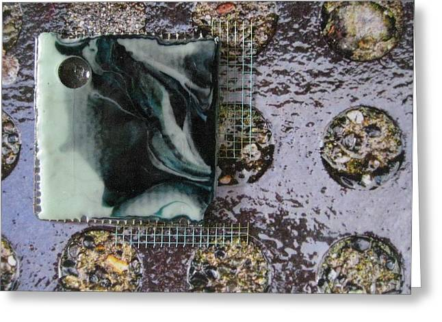 Fused Mixed Media Greeting Cards - Urban Hardscapes - Circles in the Sidewalk Greeting Card by Mark Lubich