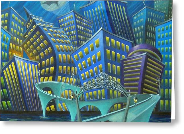 Batman Greeting Cards - Urban Knight Greeting Card by Eva Folks