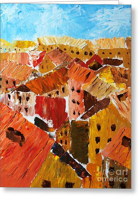 Haus Paintings Greeting Cards - Urban Landscape in Europe Greeting Card by Andrey Ushakov